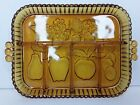Vintage Indiana Amber Glass Divided Vegetable Fruit Tray Embossed Scallop Edge