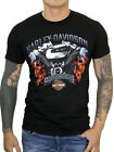 Harley Davidson Mens V Twin Motor Flame Skulls Black Short Sleeve Biker T Shirt