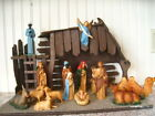 FABULOUS Vintage15pc Nativity Set + W Large Manger  Music Box Silent Nigjt