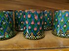 Mackenzie Childs TULIP ARBOR OLD FASHIONED TUMBLERS GLASS Unused SET of 8