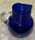 VINTAGE 1930S LOUIE GLASS COBALT BLUE PITCHER w CLEAR RIBBED HANDLE 75x8