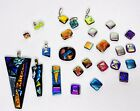 LOT 28 Fused Dichroic Glass Pendants Tiles Glitter Jewelry Broken Crafting