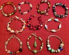 10pc Assorted BRACELET Jewelry Lot Fun Funky Colorful LAMPWORKED GLASS Designs