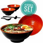 4 Noodle Bowl 16 piece Melamine Large Ramen Bowls Set 32 Oz With Accesories