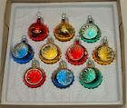 Vtg Glass Xmas Ornaments 10 BRADFORD  MIX Feather Tabletop Tree INDENTS Balls