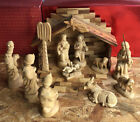 Vtg Nativity Scene Figures Hand Carved Wood 14 Pcs Christmas Collectible Creche