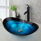 Oval Bathroom Combo Set Tempered Glass Vessel Sink+ Black Waterfall Spout Faucet