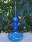 MCM 1960s Rainbow Glass Bright Blue Flat Captain Decanter  Teardrop Stopper