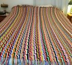 Handknitted Rainbow Color Heavy Afghan 7272 Bright 2 Sided w fringe