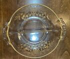 VintageClear Glass Divided Relish Snack Dish with Gold Inlay