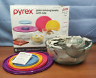 Pyrex 8 Piece Ribbed Glass 4x Mixing Bowl w Sorting Colored Locking lids