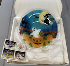 Peggy Karr Fused Glass HALLOWEEN Bowl Witch Bay Ghost Back Cat Pumpkin 9 In Box