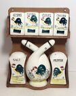Vintage Wood Hanging Rooster Spice Rack With Vinegar And Oil Cruet Hand Painted