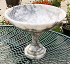 Beautiful Vintage Solid Marble Pedestal Bowl White Gray 10 wide 8 tall