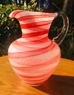 Blown Art Glass Pitcher Applied Clear Handle Cased red  white swirl