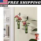 Pair Of Rustic Black Metal Wall Mount Hanging Glass Cylinder Decorative Vases