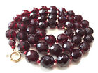 Vtg Faceted Red Garnet Bohemian Glass Bead Necklace Gold Filled Clasp