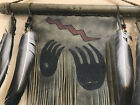 Unusual Native American Painted Leather Wall Hanging Handprints and Feathers