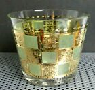Vintage Mid Century Modern Glass Ice Bucket Gold And Green with 5 Tumblers