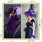 5PC WITCH LED HAT COSTUME PURPLE FEATHER SET HALLOWEEN WAND CUFF AMETHYST LED