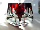 Bohemian  Ruby Red Crystal Cut to Clear Faceted Ashtray Paperweight Heavy Vase