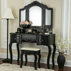 Vanity Makeup Dressing Table Set Folding Mirror Desk Dresser W Stool 5 Drawers