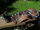 Graduated Blue and Purple Turquoise  Glass Beaded Very Long Necklace 44