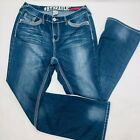 Hydraulic Womens Jeans 14 Blue Lola Slim Flare Stretch Dark Wash Whiskers Faded