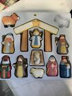 Kurt S Adler Childs First Nativity Set 12 Wooden Figures Missing Donkey