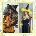 5PC YELLOW WITCH LED HAT COSTUME FEATHER SET HALLOWEEN FLOWER BLING GOLD BOHO