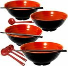 4 Ramen Bowl 12 pieces Melamine Large Ramen Bowls Set 52 Oz With Accesories