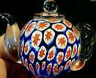 Stunning Murano Millefiori Art Glass Teapot Paperweight With Red White And Blue