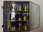 Vintage Miniature Glass and Brass Shadow Box Curio With Brass Collectibles