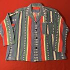 Pajama Button Shirts Native American Black Button Medium Large 80s 1980s