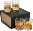 Set of 4 Crystal Whiskey Liquor Bourbon Scotch Cognac Drinking Glasses Gift Box