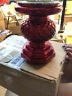 Set Of 2 Lit Quilted Mercury Glass Pedestals By Valerie Red