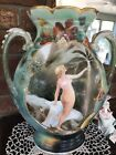 Antique French Porcelain Vase Hand Painted Nude Woman 13x11 Heavy Good Shape