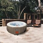 ALEKO Round Inflatable Hot Tub Spa With Cover 4 Person 210 Gallon Brown White