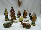 Vtg 13 Pc Nativity Hand Painted Made in Japan 95 Manger Angel Creche Lot 1950s