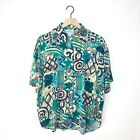 VTG California Krush Funky Button Up Shirt 80s Colorful All Over Print Size Lrg