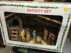 Antique Nativity Set 12 Figures Wood Stable 282 4378 Christmas Moss Roof Box