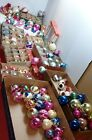 HUGE lot Vtg MCM Mercury Glass Mica Christmas Ornaments indents stencil Poland