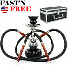 Hookah 2 Hose Glass Water Pipe Vase Tobacco Shisha Nargile Smoking Bong Set+case