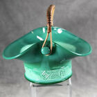 Fenton Mongolian Green Slag Glass Basket With Floral Band c1935