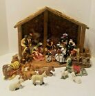 VTG African O Well Hand Painted China 10 Piece Nativity Set W Manger + 6 extra