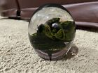 Large Oval shaped Clear Art Glass paperweight Black Swirls Air Bubbles Unique