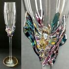 Artist Signed ION TAMAIAN Hand Blown Art Glass 125 Champagne Flute Romania