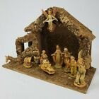 Vintage Nativity Manger Creche Stable Wood Moss Angels Figures Christmas Italy