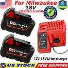For Milwaukee 18V Lithium XC 60Ah Extended Battery 48 11 1860 + M12 M18 Charger