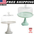 THE PIONEER WOMAN Timeless Beauty 10 Cake Stand Dome Glass Mint Green White
